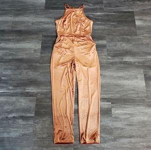 Burnt Orange Velvet Urban Outfitters Jumpsuit